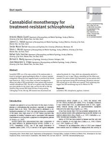 Cannabidiol CBD therapy for Schizophrenia