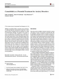 Cannabidiol as a Potential Treatment for Anxiety Disorders